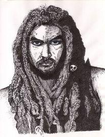 Dreadlocks, Schwarz weiß, Ausdruck, Zeichnung