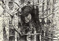 Portrait, Tusche, Feder, Wald