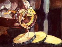 Flasche, Ölmalerei, Zucchini, Mediterran