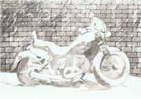 Zeichnung, Schwarz weiß, Tuschmalerei, Motorrad