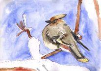 Lebewesen, Äste, Vogel, Schnee