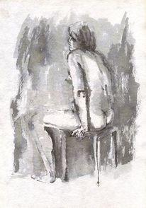 Schwarz weiß, Hand, Frau, Zeichnung
