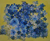 Gemälde, Acrylmalerei, Blau, Blumen