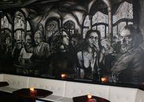 Bar nando, Wandmalerei, Schwarz weiß, Weiß