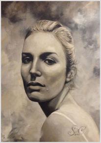 Portrait, Weiß, Schwarz weiß, Frau