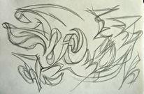 Abstrakte zeichnung, Skizze, Bleistiftzeichnung, Abstrakt