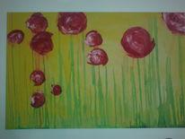 Malerei, Abstrakt, Klatschmohn