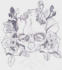 Schädel, Tattoo, Bleistiftzeichnung, Rose