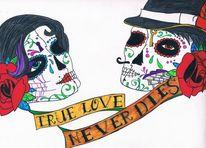 Frau, Tattoo, Wahrheit, Rose