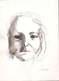 Frauengesicht, Zeinung, Finelinerzeichnung, Portrait