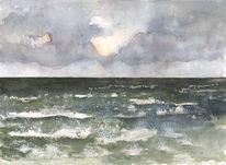Aquarellmalerei, Landschaft, Meer, Gischt
