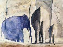 Dämmerung, Elefantenkalb, Gefangenschaft, Schatten