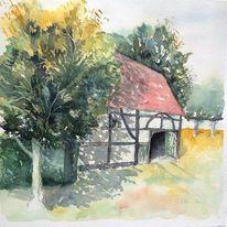Bauernhaus, Fachwerk, Gebäude, Aquarellmalerei