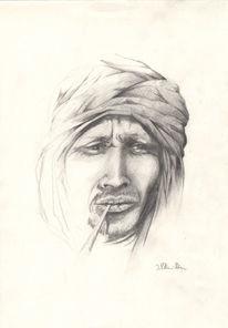 Portrait, Araber, Bildnis porträtzeichnung, Tuareg