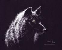 Tierportrait, Wildtier, Gemälde, Wolf