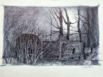Mondnacht, Schloss, Zeichnung, Mondlicht