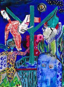 Runen, Mythologie, Blau, Visionäre kunst