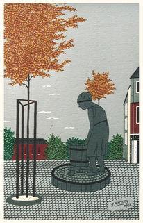 Bonn, Beuel wäscherin brunnen, Malerei, Brunnen