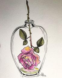 Rose, Blumen, Aquarellmalerei, Tuschmalerei