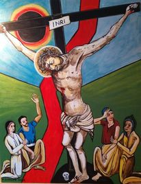 Acrylmalerei, Kreuz, Inri, Malerei