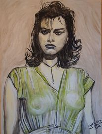 Sophia loren, Portrait, Malerei