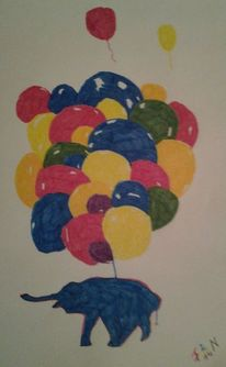 Ballon, Elefant, Malerei, Fliegen
