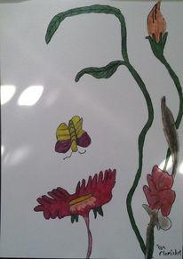 Frau, Blumen, Malerei