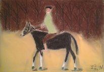Reiter, Wald, Pferde, Malerei