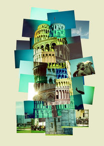 Italien, Pisa, Collage, Schiefer turm