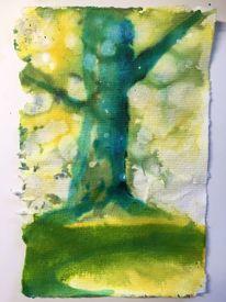 Baum, Tiere, Aquarellmalerei, Tuschmalerei