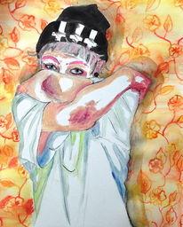 Pink umarmen, Vintage, Ölmalerei, Junge