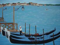 Venedig, Meer, Gondel, Malerei
