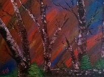 Baum, Wald, Birke, Malerei
