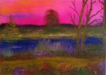Wasser, Glühen, Baum, Pink