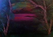 Landschaft, Glühen, Baum, Nacht