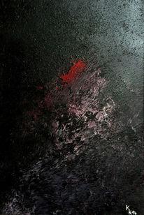 Struktur, Rot schwarz, Mischtechnik, Spachtel