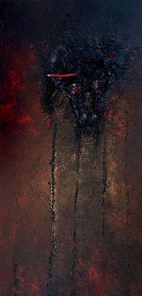 Dunkel, Nagel, Riss, Rot schwarz