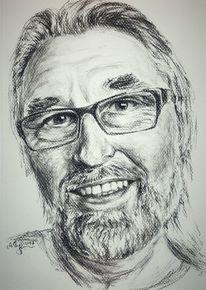 Männliches portrait, Mann, Kohle auf strukturpapier, Bart