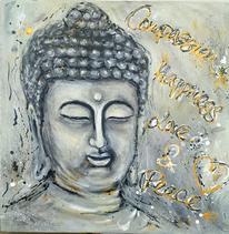 Botschaft, Grau, Buddha, Malerei