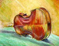 Geige, Pastellmalerei, Malerei, Stillleben