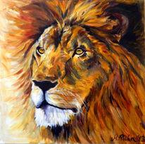 Löwe, Tierportrait, Malerei