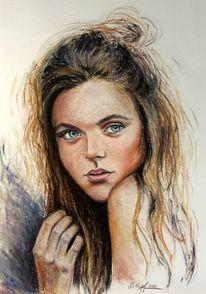Mädchen, Pastellmalerei, Blick, Malerei