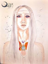 Aquarellmalerei, Sissi whites, Pokahontas, Aquarell