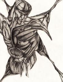 Körperstudie, Körper, Bleistiftzeichnung, Anatomie