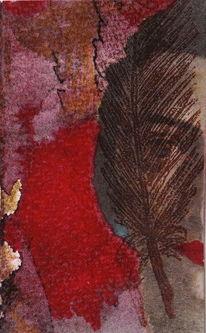 Taschenkunst, Begegnung, Rot, Braun