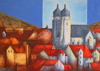 Rot schwarz, Malerei, Abstrakt, Blau