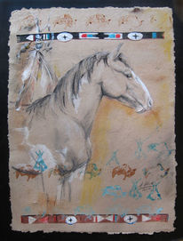 Indianer, Pony, Nordamerkia, Malerei