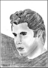 Realismus, Portrait, Bleistiftzeichnung, Travolta