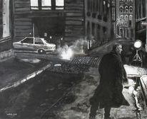 Niro, Straße, Schwarz weiß, Malerei