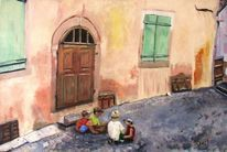 Tür, Straße, Kinder, Hauswand